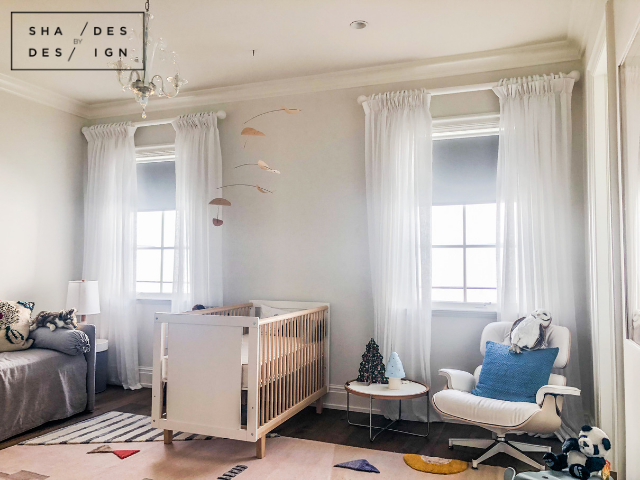 Nursery- Blackout Shades and Drapery on Wooden Rod