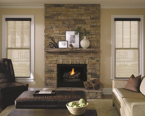 Screen Roller Shades fireplace