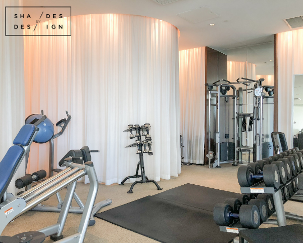 Window treatments for fitness center
