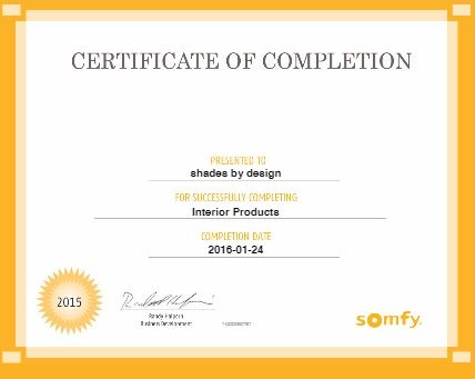 certificate of completion somfy window autometion
