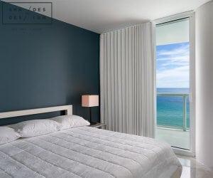 motorized blackout shades - miami beach penthouse